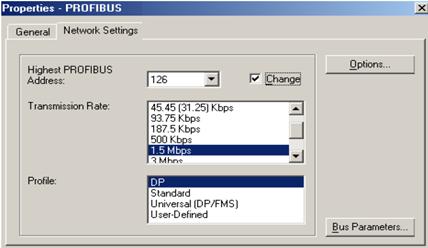 تنظیمات شبکه ی PROFIBUS