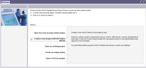 محیط برنامه WinCC flexible